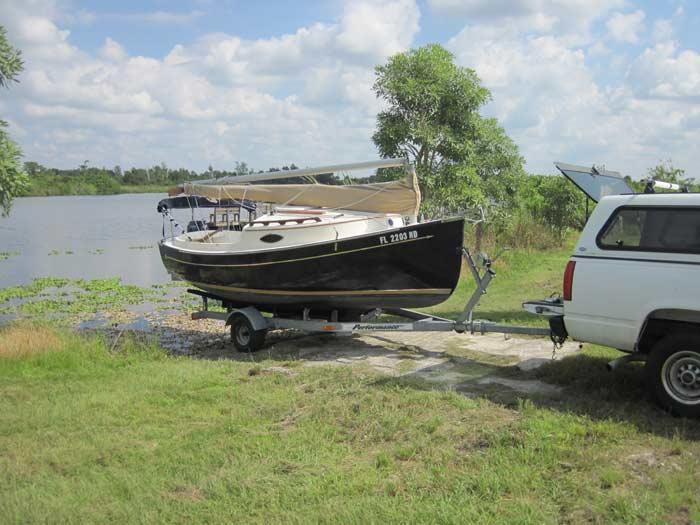 Launching Sun Cat at Shell Creek Ramp