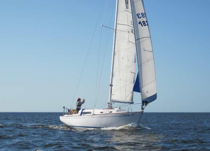 Morgan 30 sailing. Shutterbug Tom